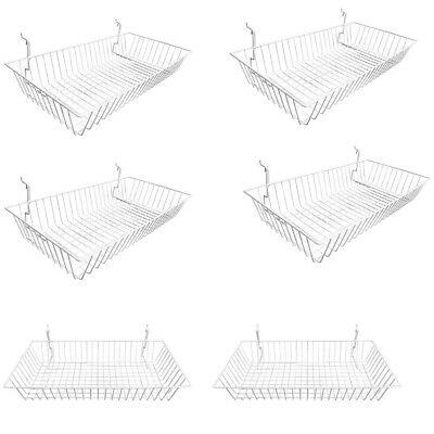6 Pc White Slatwall Gridwall Pegboard Shallow Basket Display Rack 24x12x4