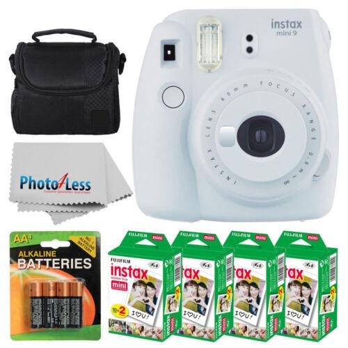 Fujifilm Instax Mini 9 Instant Camera -Smokey White + 80 Film + Case + Batteries