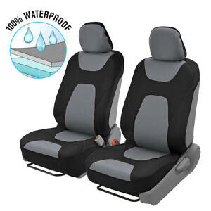 Amazing 2pc Front Car Seat Covers 100% Waterproof Polyester/Neoprene Black/Gray  2Tone