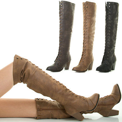 New Lace Up Stack Chunky Med Heel Over The Knee Thigh High Combat Military