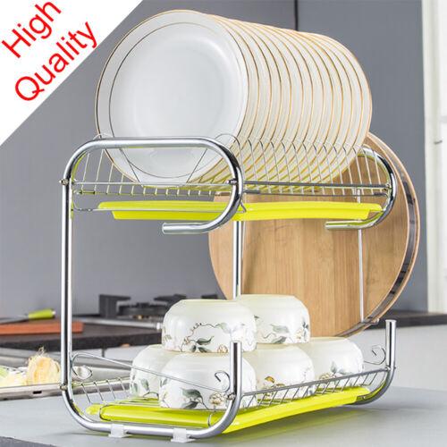 Kitchen Storage Dish Cup 2-Tier Dryer Drying Rack Holder Org