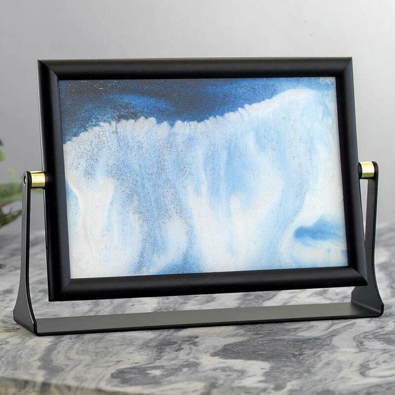 """Rotating Wave Moving Art w/ Colored Sand & Glitter Metal Acrylic 8""""x6""""x2"""""""
