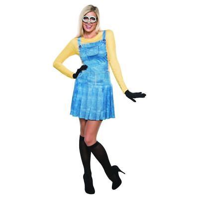 NEW WOMENS FEMALE MINION ADULT COSTUME HALLOWEEN MINIONS M 6-10 S 2-6 DRESS UP - Minion Dress Up