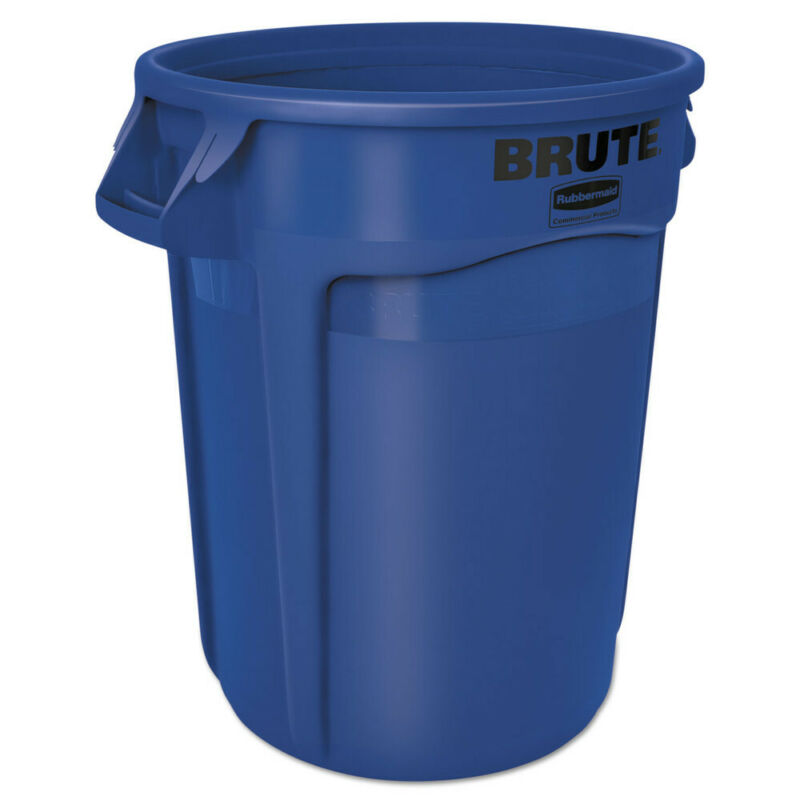 Rubbermaid Commercial 2632BLU 32 Gal Plastic Round Brute Container - Blue New