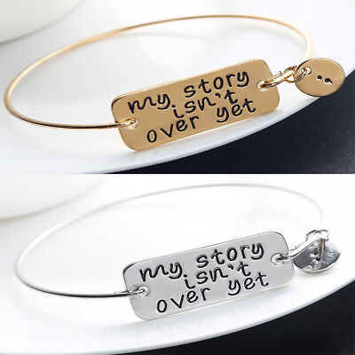 - My Story isn't Over Yet Bangle Bracelet Mental Health Awareness Jewellery Gifts