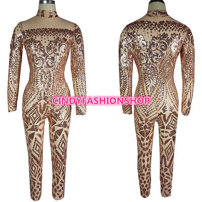 Sequin Cat Suit (USA Women Sexy Geometric Tattoo Sequin Long Sleeve Bodysuit Cat suit Jumpsuit)