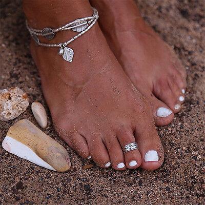Women's Celebrity Punk Fashion Silver Toe Ring Mini Rings Adjustable Foot Beach