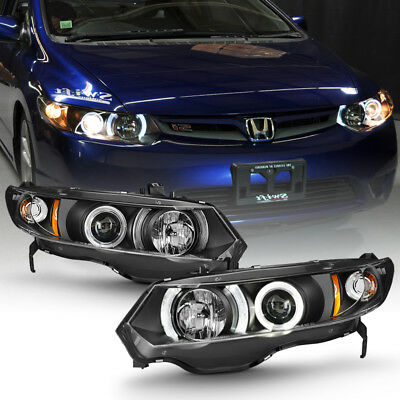 For Blk 2006-2011 Honda Civic 2Dr Coupe LED Halo Projector Headlights Headlamps - Honda Civic Halo Headlights