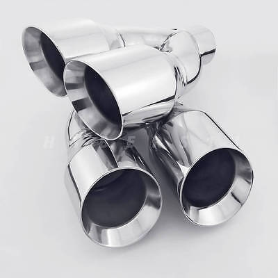 "1 Pair QUAD 4"" Outlets Stainless Steel Exhaust Tips 2.5"" ID for AUDI S3 S4 S5 S6"