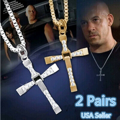 2Pcs Cross Pendant Necklace Stainless Steel Unisex's Chain Crucifix Men Women US