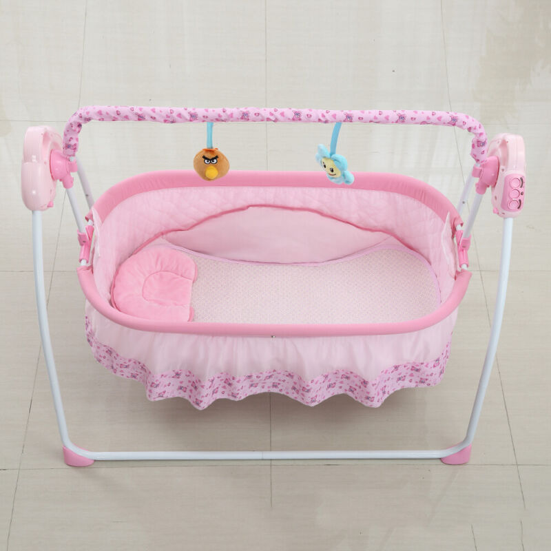 3-Gear Swing Electric Baby Cradle Bluetooth Music Mosquito Net Infant Rocker