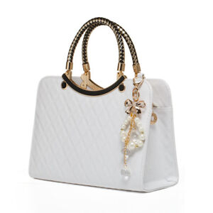 098ecb69c60d Ladies White Leather Handbag New Tote Designer Style Celebrity Shoulder Bag