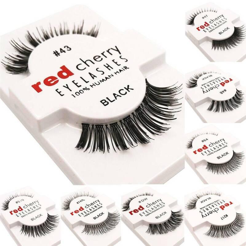 1pair lashes soft false human hair eyelashes