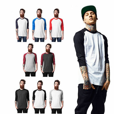 Urban Classics Herren Contrast 3/4 Sleeve Raglan Tee T-shirt zweifarbig Ärmel  - 3/4 Sleeve Shirt