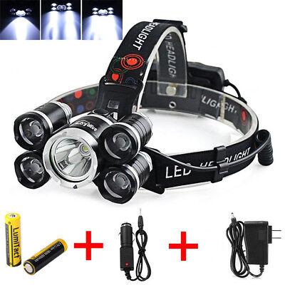 50000Lm 5 Head Cree Xm L T6 Led 18650 Headlamp Headlight Flashlight Torch Light