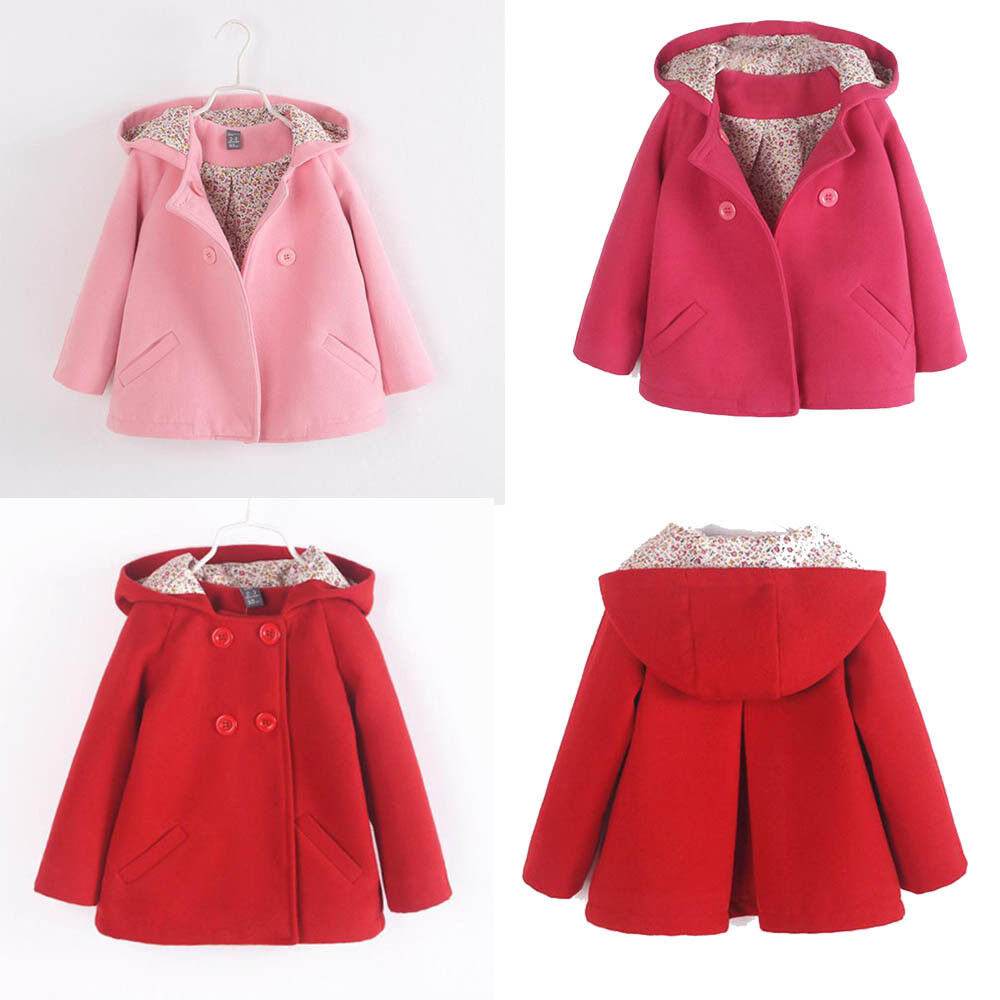 Toddler Kids Baby Girl Winter Floral Hooded Coat Cloak Jacket Thick Warm Clothes