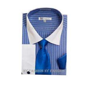 Canali Dress Shirt Off White Blue Stripes Men s 16 Large ...
