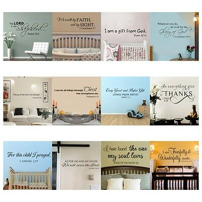 Inspirational Wall Decal Bible Verse Scripture Saying Art Vinyl Removable Decor