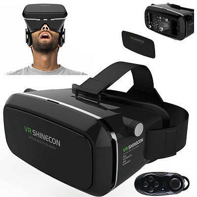 SHINECON 2.0 VR Box Goggles 3D Glasses Virtual Reality Headset+Bluetooth Control