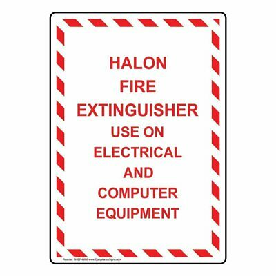 Compliancesigns Vertical Aluminum Halon Fire Extinguisher Use On Electrical...