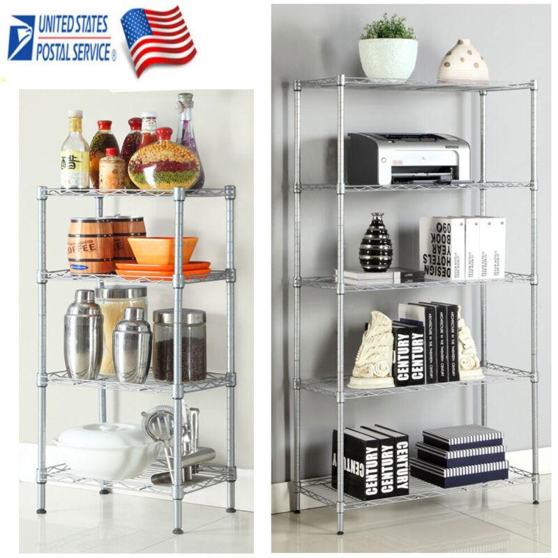 4/5 Tier Storage Rack Metal Steel Wire Kitchen Garage Storage Shelves Adjustable