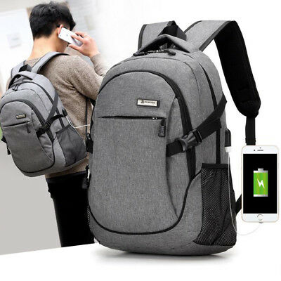 Anti-Theft Backpack USB Charging Port & Cable Rucksack Laptop School Travel Bag
