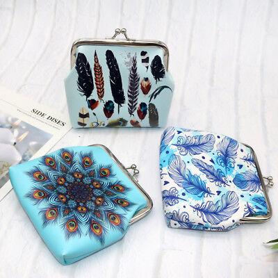 Women Girls Printing Flower Snacks Coin Purse Wallet Bag Change Pouch Key Holder