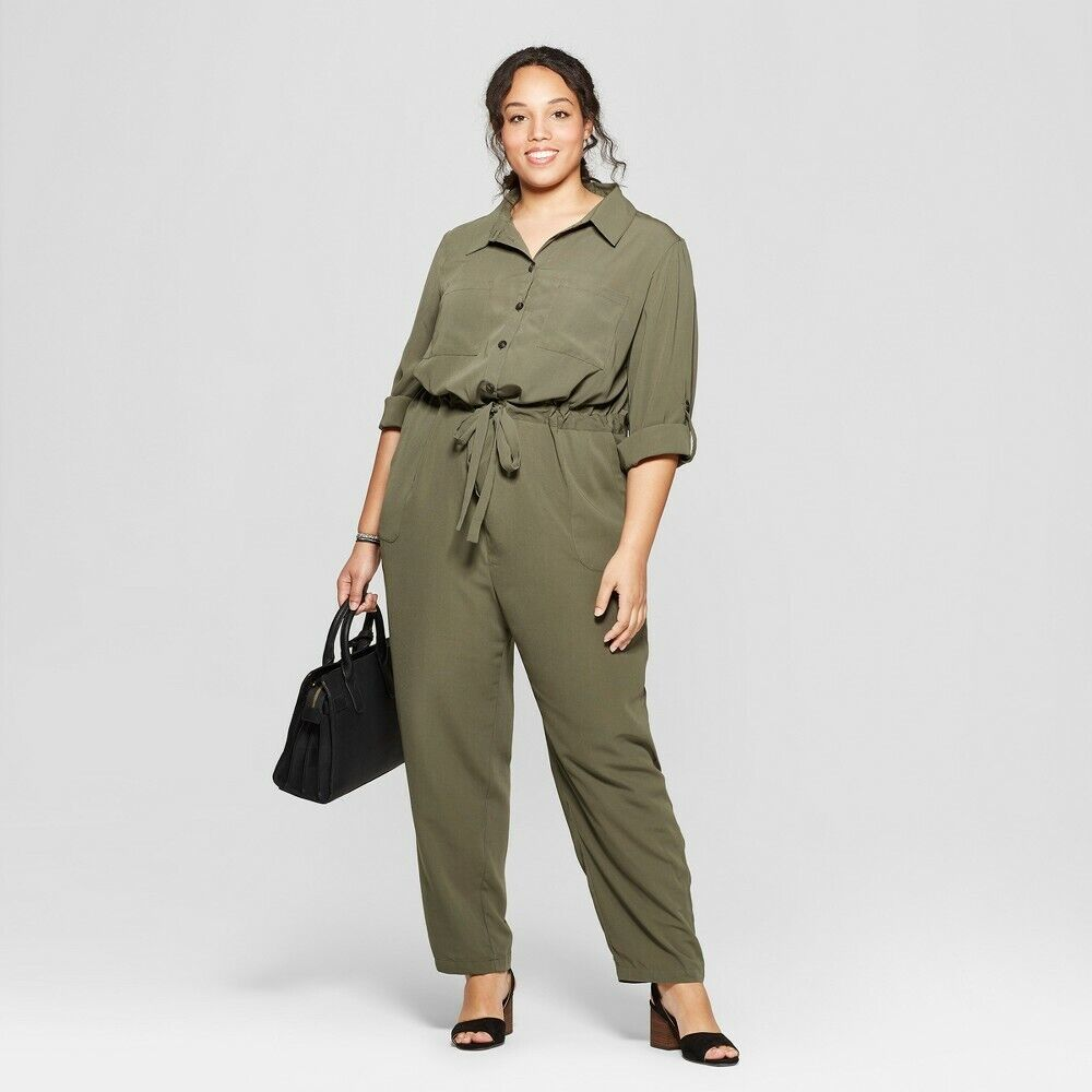 Ava & Viv Plus Size Jumpsuit 3X, Olive Clothing, Shoes & Accessories