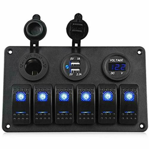 6-Gang Marine/Boat/Car Ignition Toggle Rocker Switch Panel Waterproof Voltmeter