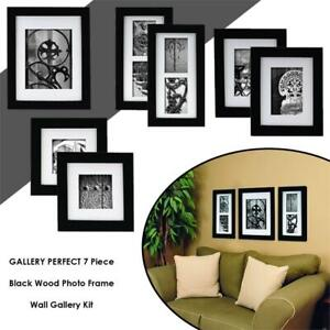 NEW GALLERY PERFECT 7 Piece Black Wood Photo Frame Wall Gallery Kit #11FW794. Includes: Frames, Hanging Wall Template...