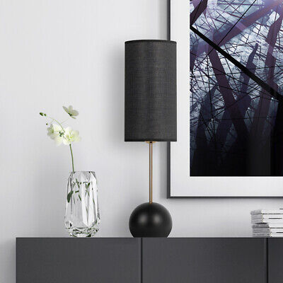 Table Lamp Modern Light Black Lampshade Round Base Portable For Bedroom Office