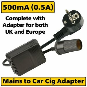 Mains-UK-Plug-AC-to-12v-DC-Car-Cigarette-Socket-Auxiliary-Adaptor-Power-Supply