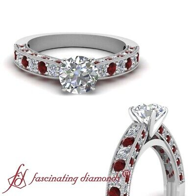 1.65 Ct Round Cut Diamond & Red Ruby Milgrain Engagement Ring Pave Set 14K GIA