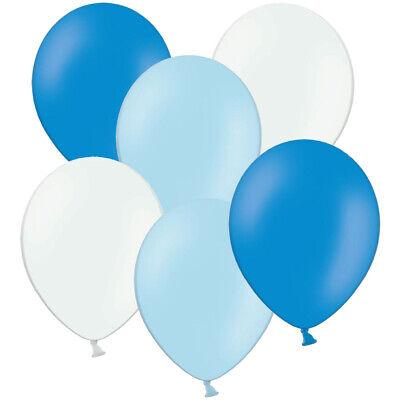 50 / 100 Luftballons zum 1. Geburtstag Ø 28 cm Blau Hellblau Weiß Helium Ballons ()