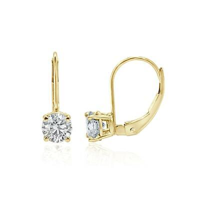 Leverback Solitaire Studs Earrings I1 G 0.60 Ct Natural Diamond 14K Yellow Gold