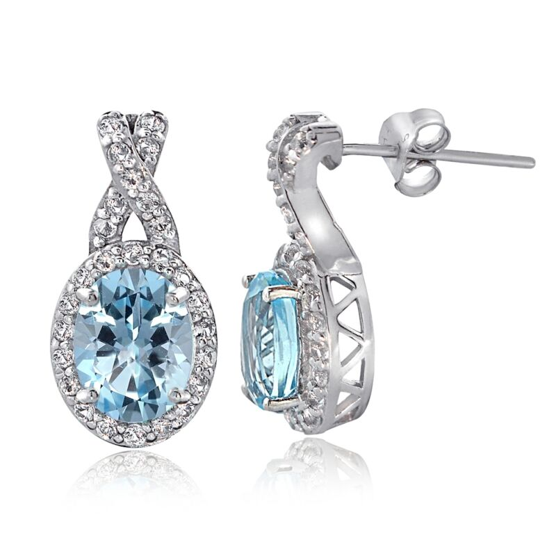Sterling Silver 4ct Blue & White Topaz X and Oval Drop Earrings
