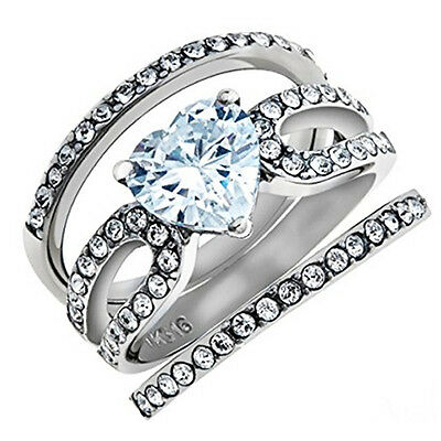 3.15 Ct Heart Shape CZ Wedding & Engagement Ring 3 Piece Set Women's Size 5-10