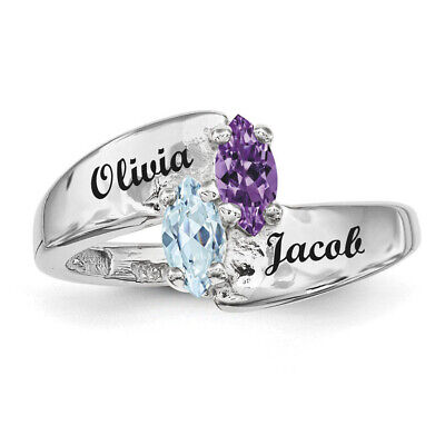 Sterling Silver Couples Ring Marquise Birthstones, Promise ring collection. Couples Marquise Birthstone Ring