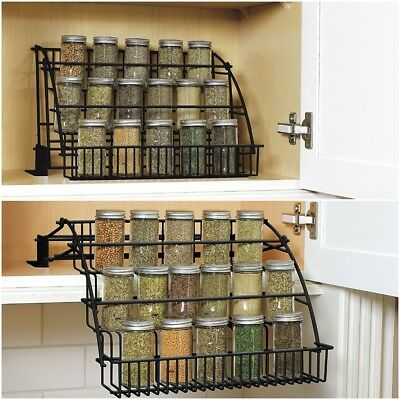 - Spice Rack Kitchen Storage Organizer Pull-Down Design Black Coated Steel