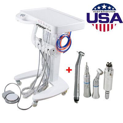 Dental Delivery Mobile Cart Unit Equipment 4-hole Syringe Handpiece Kit Fda Ce