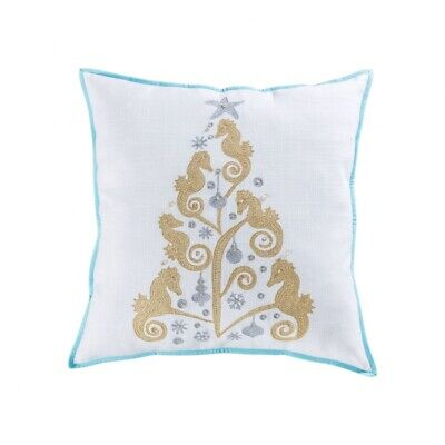 Seahorse Christmas Tree Holiday Throw 24x24-inch Pillow Cover Only