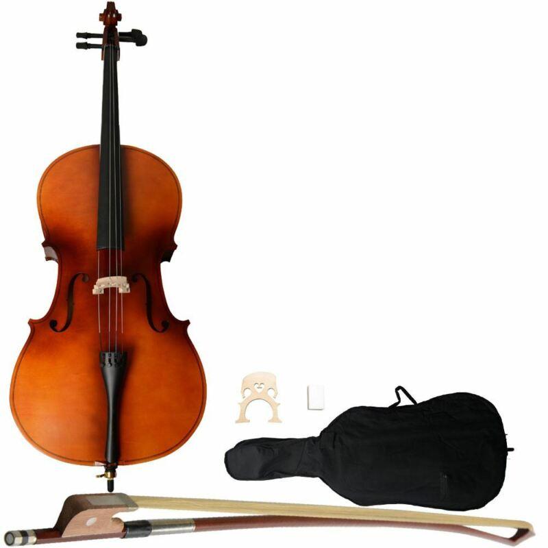 4/4 Acoustic Cello Case Bow Rosin Wood Colour