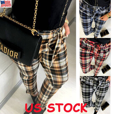 Women Trousers - US Women Plaid Check Casual Pants Skinny Slim High Waist Stretch Ladies Trousers