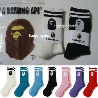 A BATHING APE Goods Men's APE HEAD LINE SOCKS 7colors Japan new