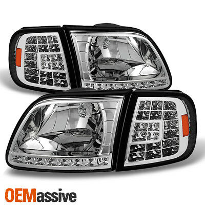 Fit 1997-2003 Ford F150 /97-02 Expedition Headlights +LED Corner Signal Lights 02 Ford Expedition Corner