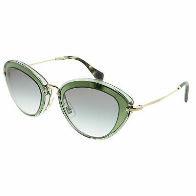 Miu Miu MU 51RS UFC1E0 Green Plastic Cat-Eye Sunglasses Grey Gradient Lens