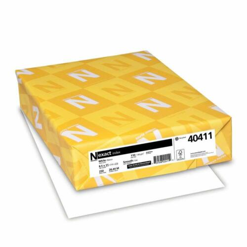 Wausau Neenah Exact Index Cardstock 94 Bright 110 lb. Letter White 250 Sheets