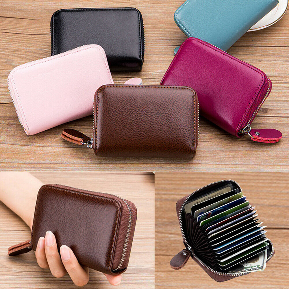 US Men Women Wallet Leather Credit Card Holder RFID Blocking Zipper Thin Pocket Clothing, Shoes & Accessories