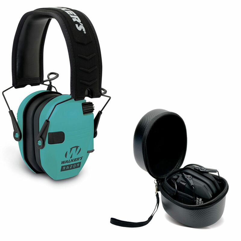 Walkers Razor Slim Electronic Protective Ear Muffs & Storage Carrying Case