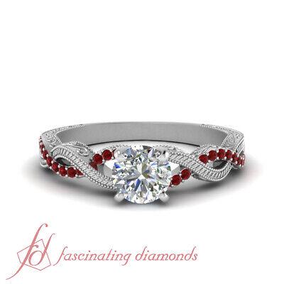 Round Cut Diamond And Ruby Gemstone Vintage Milgrain Engagement Ring 0.85 Carat 1